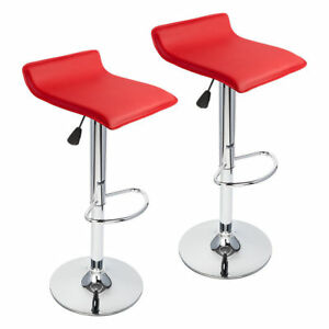 Drafting Chair Stool Swivel Adjustable Mesh Pu Leather Computer Office Seat