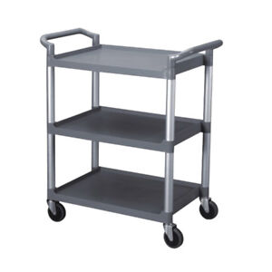 Bus Cart 3 tier With Casters Catering Transport Bins Restaurant Buffet Grey