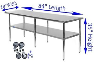 18 X 84 Stainless Steel Work Table W Wheels Food Prep Nsf Utility Bench