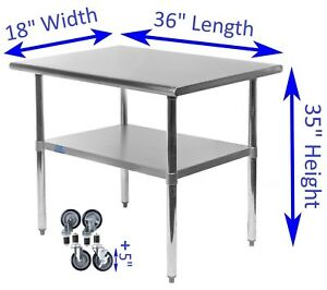 18 X 36 Stainless Steel Work Table With Wheels Kitchen Restaurant Food Prep