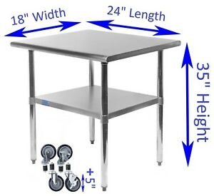 18 X 24 Stainless Steel Work Table With Wheels Kitchen Restaurant Food Prep