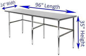 24 X 96 Stainless Steel Work Table With Open Base Kitchen Food Prep Table