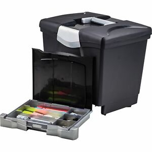 Storex Portable File Box With Pull out Tray Black
