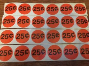 24 25 Cents Small Stickers Circle 1 Vending Machine Stickers High Quality