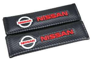 2x Nissan Carbon Look Embroidery Seat Belt Cover Shoulder Pads For Infitini Gt R
