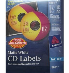 Original 8691 Avery Matte White Cd Labels 100 Disc 200 Spine Free Shipping Usa