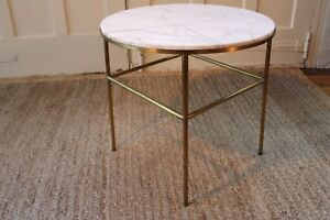 Mcm Brass And Marble End Side Table Attributed To Directional Paul Mccobb