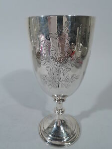 Victorian Goblet Antique Leafy Branch English Sterling Silver Boyton 1881