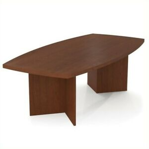 Scranton Co 8 Boat Shaped Light Board Top Conference Table In Bordeaux