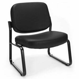 Scranton Co Big And Tall Faux Leather Guest Reception Chair In Black