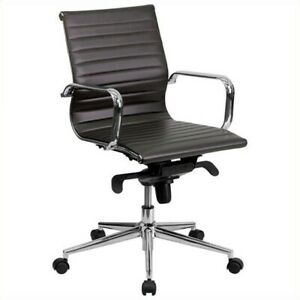 Scranton Co High Back Ribbed Upholstered Office Chair In Brown