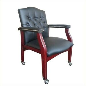 Scranton Co Guest Office Chair In Black And Mahogany