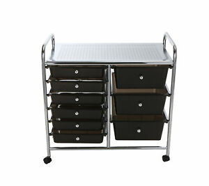 Mind Reader Metal Binding 9 Double Drawer Rolling Storage Chest