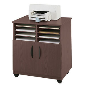Safco Products Company Mobile Printer Stand Mahogany