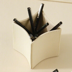 Orren Ellis Brittanie Folded Leather Pencil Cup Cream Ivory