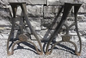 Antique Cast Iron Table Legs Seneca Falls Metal Lathe1895 Steampunk Industrial