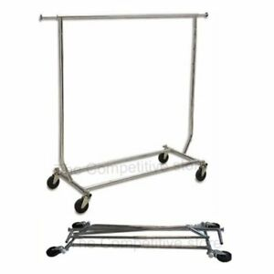Collapsible Folding Rolling Clothing Garment Rack Salesmans Rack Chrome Plated