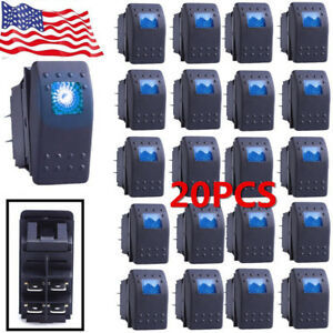 20x Waterproof Marine Boat Car Rocker Switch 12v Spst On off 4pin 4p Blue Led Bb