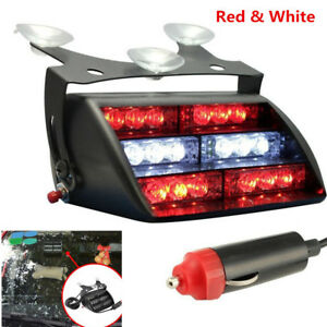 Car 18 Led White Red Police Strobe Flash Light Dash Emergency Flashing Light