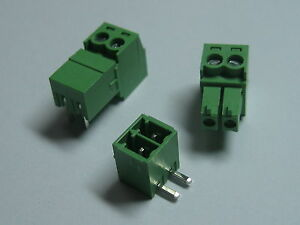 150pcs Screw Terminal Block Connector 3 81mm Angle 2pin Green Pluggable Type New