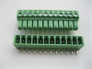 30pcs Screw Terminal Block Connector 3 81mm Angle 12pin Green Pluggable Type New