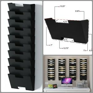 Wall Mounted File Holder Organizer Hanging 10 Section 13 Inch Steel File Sorter