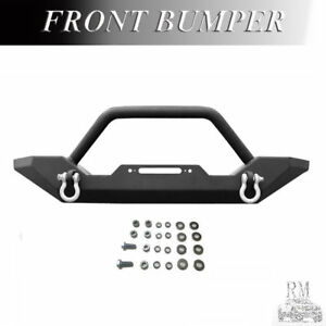 Black Textured Front Bumper Fit 1986 2006 Jeep Tj Yj Rock Crawler W Winch Plate
