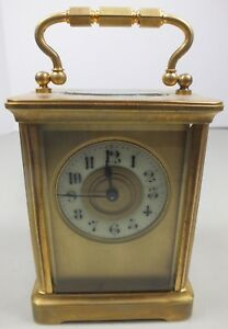Beautiful Vintage Brass Carriage Clock W Porcelain Dial Beveled Glass