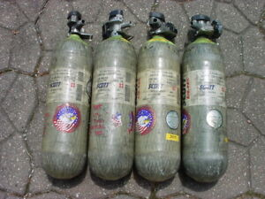 Scott Fire Dept Fireman Firefighter Scba Air Pack Air Bottle Cylinder Tanks