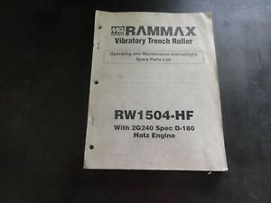 Multiquip Rammax Rw1504 hf Vibratory Trench Roller Operating Maintenance Manual