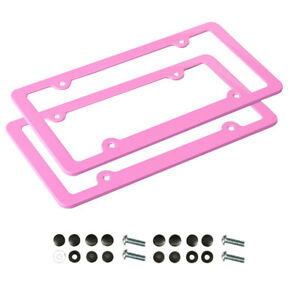 2 Pink Aluminum Alloy License Plate Frame Edge Caps Cover Screws Back Front