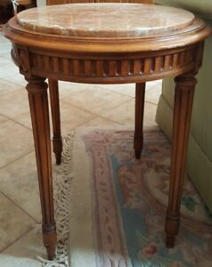 Wow Amazing Rare Two Antique French Oval Walnut Side Tables With Marble Tops