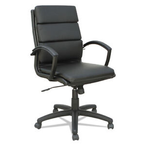Lot Of 4 Black Leather Slim Profile Conference Room Table Chairs W Padded Arms