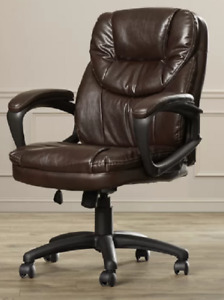 Midback Office Desk Chair Padded Armrest Swivel Traditional Classic Faux Leather