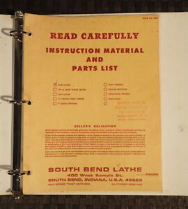 South Bend 9 10k Lathe Instruction Material And Parts List 1963 1964