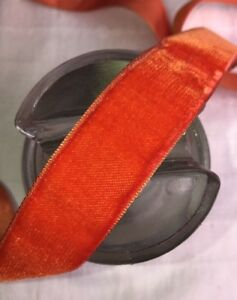 10y Bolt Vtg Scarlet Orange Velvet Swiss 7 8 Rayon Ribbon Trim Millinery Dress