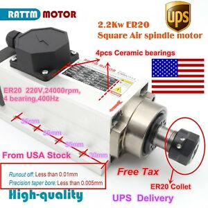 us Stock 2 2kw Square Air Cooled Spindle Motor 220v 400hz For Cnc Router Er20