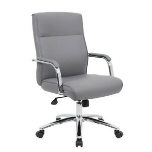 Lot Of 8 Modern Grey Conference Table Chairs With Padded Arms