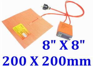 8 X 8 200 X 200mm 500w Silicone Heater 3d Printer Heatbed W Digital Controller