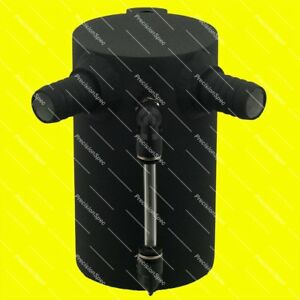 0 5l Baffled Black Aluminium Oil Catch Can With 19mm 3 4 Inlets Drain Plug
