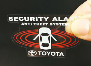 2 Car Alarm Decals For Toyota Inside Outside Glass Security Window Stickers