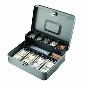 Cash Box Gray With Key Locking System Money Jewelry Coins Security Safe W Tray