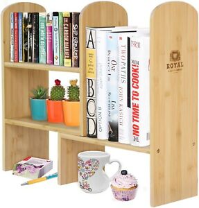 Bamboo Desk Organizer Expandable Book Desktop Display Shelf Rack Office Kitchen