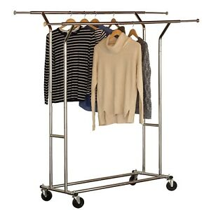 Steel Clothing Rack Caster Metal Rolling Garment Hanger Double Rail Chrome 60 h