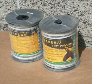 Lot Of 2 New Zareb Pt656whz 1 2inch 200m Polytape Electric Fence Tape 656 Feet