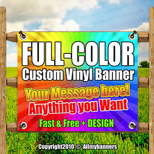 4 X 15 Custom Vinyl Banner 13oz Full Color Free Design Included Strong pxp