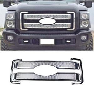 Front Grille For 2011 2016 Ford F250 F350 Super Duty Platinum Chrome Overlay