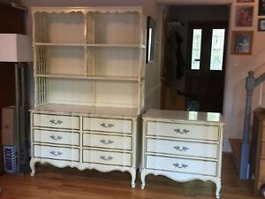 Vintage French Provincial Dixie Dresser With Hutch Smaller Matching Chest 1965