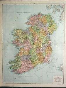 1919 Large Map Ireland Leinster Tipperary Galway Clare Connaught Mayo Sligo