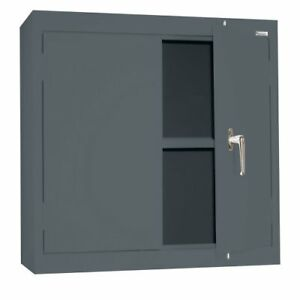Sandusky Lee Wa11301230 02 Charcoal Steel Wall Cabinet Double Door 1 Adjustab